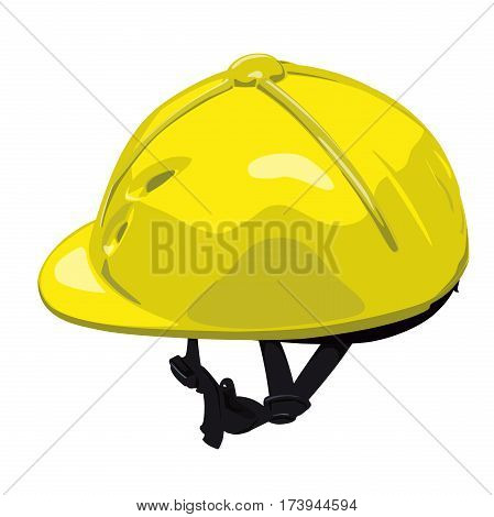 Yellow vector riding helmet. Isolated jockey protection on white background. Realistic object from equestrian enviroment with horses. Horse racing equipment. Flatten isolated master illustration.