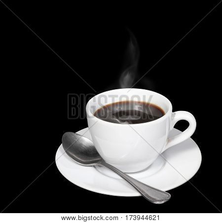 Hot coffee and smoke in white cup with spoon isolated on black background clipping path.