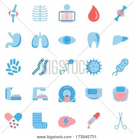 Set of medicine icons. Collection of medical equipment icons on white background. Healthcare icons. Flat style. Vector illustration.