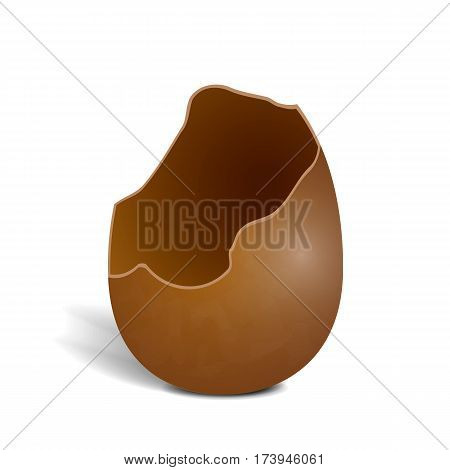 Realistic broken milky chocolate egg isolated on white background. Egg with shadow icon. Vector illustration of hollow tasty sweetness.