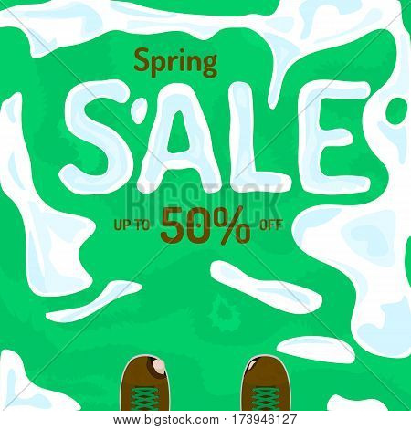 Flat spring sale vector banner, poster, flyer. Fresh creative design of sale template. Vector illustration with melting snow on grass, old ragged shoes.