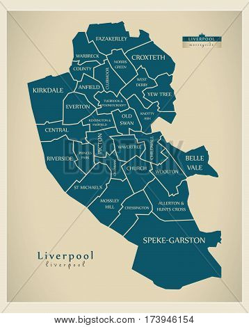 Modern City Map - Liverpool With Labelled Boroughs Illustration