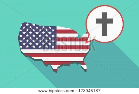 Usa Map With A Christian Cross