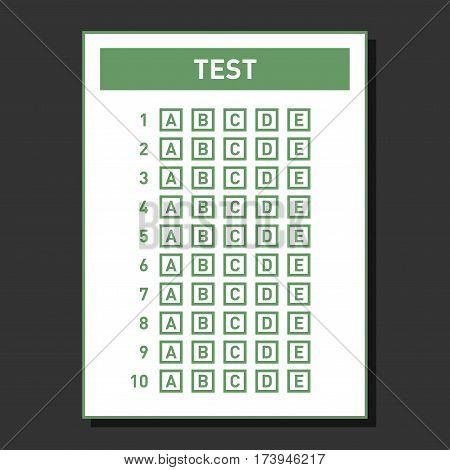 Multiple Choice Blank Test Answer Sheet. Vector illustration