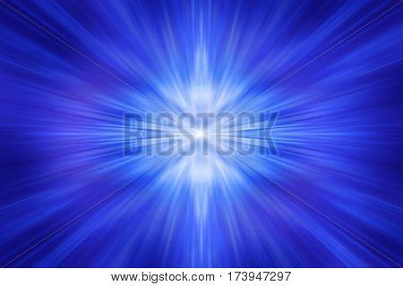 Background of light rays on a blue background. Soft focus. Motion blur. illustration digital