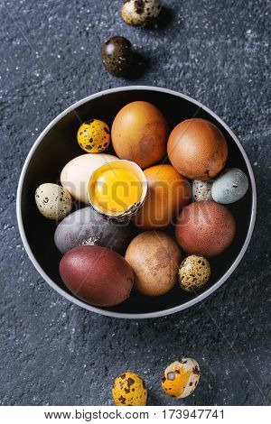 Brown and gray colored chicken and quail Easter eggs in black ceramic bowl with yolk over black concrete texture background. Top view, close up