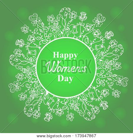 Happy Women's Day. March 8. Flower and herbage frame. Concept design for a holiday sale greeting cards flyers invitations.
