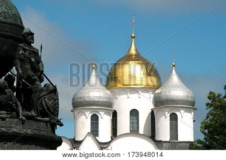Detail of the monument Millennium of Russia with the St. Sophia Cathedral in Veliky Novgorod Russia