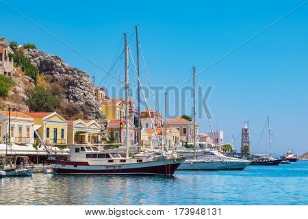 Sailboats at the harbour of Symi. Dodecanese Islands Greece Europe