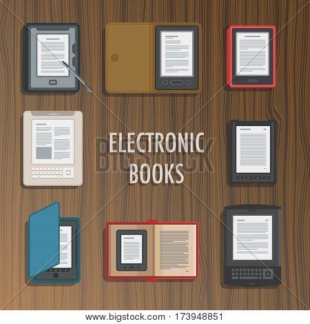 Electronics reader book collection. New books colorful icons. Mobile tablet devices. Modern gadgets. Flat badge. Education symbol logo. Illustration vector art on wood texture background.