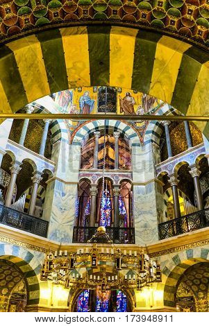 AACHEN, GERMANY-DECEMBER 15, 2014: The Aachen Cathedral, also High Aachen Cathedral, or the Aachener Kaiserdom.The Aachen chapel was the church of coronation for thirty German kings and twelve queens.