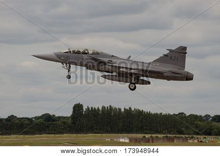 Swedish Gripen Landing At Air Tattoo