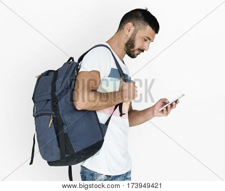 Middle Eastern Man Carrying Backpack Mobile Phone Studio Portrait