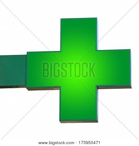 Pharmacy sign isolated. Green pharmacy cross with fixings for the wall.