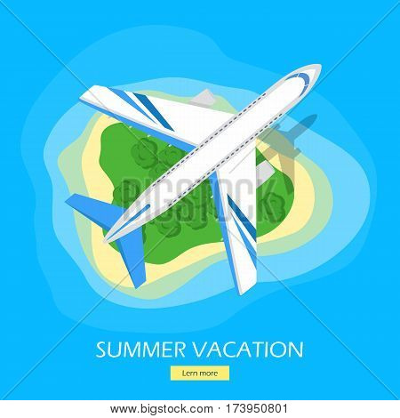Summer vacation web banner. Modern airliner flying over green tropical island with beach in ocean flat vector illustration. Leisure in exotic countries. For travel agency, airline landing page design