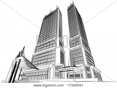 The graphic image of building construction on a white background