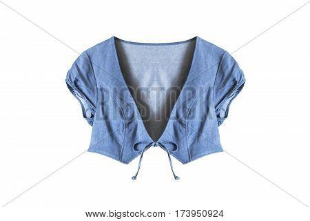 Blue denim short sleeves jacket isolated over white