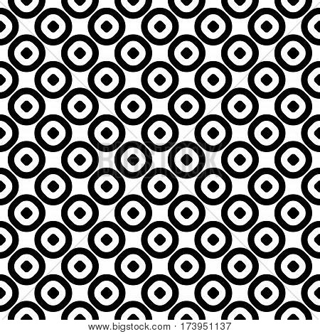 Vector seamless pattern, monochrome polka dot texture. Simple geometric background with staggered perforated circles, black & white abstract design. Element for decoration, textile, fabric, linens, cloth