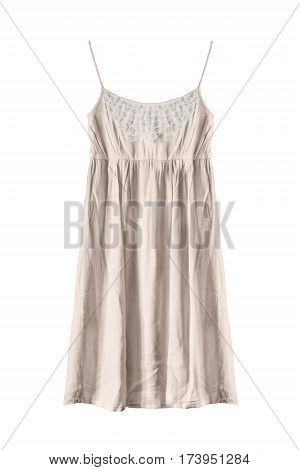 Elegant beige sundress with white lace isolated over white