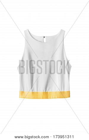 White cotton tank top with yellow ribbon isolated over white