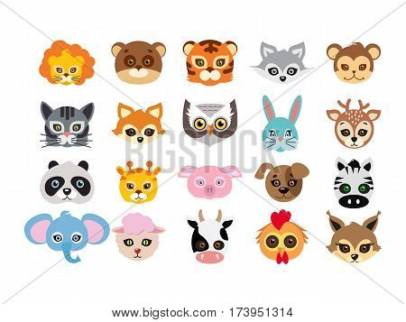 Collection of different animal masks on face. Mask of lion, bear, tiger, rabbit, monkey, cat, fox, owl, hare, giraffe, deer, panda, pig dog zebra elephant sheep cow squirrel Vector in flat design