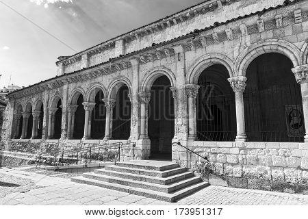 Segovia (Castilla y Leon Spain): exterior of the medieval church of San Millan. Black and white