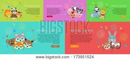 Animal carnival. Set of masks in cartoon style. Colourful decorations on background. Zebra, elephant, tiger, monkey, dog, cat, deer, rabbit, lion Fireworks Poster Web banner Flat design Vector