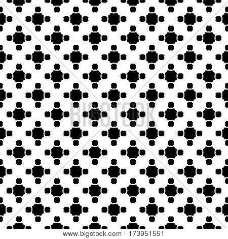 Vector monochrome seamless pattern, simple geometric texture black figures on white backdrop, rounded octagons. Abstract repeat background for tileable print. Design for decoration, textile, fabric, cover, cloth, linens