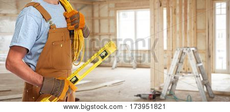 Electrician with electrical cable