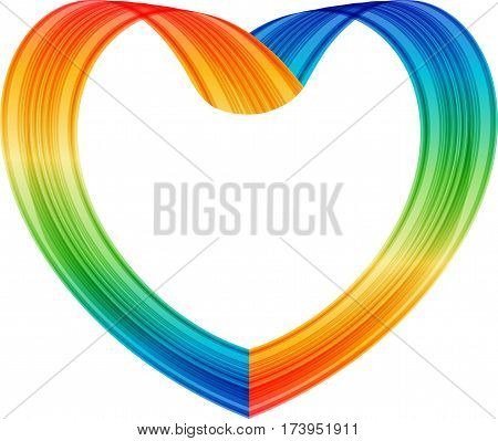Heart made of colored ribbon on white background