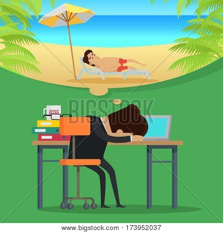 Dreams of vacation vector concept. Flat design. Office worker sleeping at working table and dreaming about a vacation at sunny seacoast. Leisure at tropical countries. For summer vacation concept.