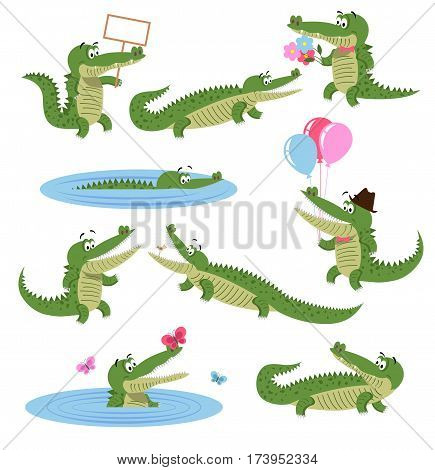 Crocodile daily activities set. Funny predator in cartoon style. Cheerful green alligator swim, with flowers, balloons, in hat, play with butterfly. Scary crocodiles isolated on white background.