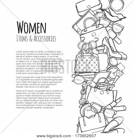 Women items and accessories web banner. Colourless objects. Cosmetics. Perfume, lipstick, mascara, perfume, purse, handbag, high-heeled shoes, eyeshadows brush watch sunglasses Add text Vector
