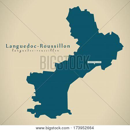 Modern Map - Languedoc Roussillon France Fr Illustration