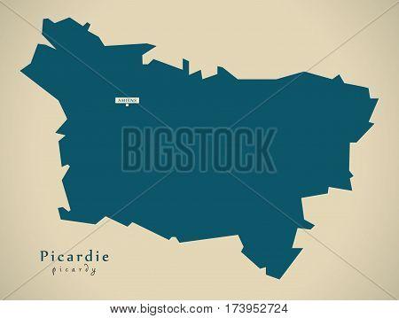 Modern Map - Picardie France Fr Illustration