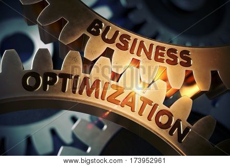 Business Optimization on the Mechanism of Golden Metallic Cogwheels with Glow Effect. Business Optimization - Technical Design. 3D Rendering.