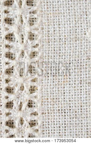 Embroidery pattern for background or cover. Texture of the vintage homespun linen textile. Hemstitch. Needlework.