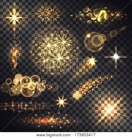 Set glows bright star light fireworks. Flash and glow, sparkle illuminated, flare effect, shine explosion, glitter and twinkle, spark magic, decoration starburst, shiny illustration. Raster version