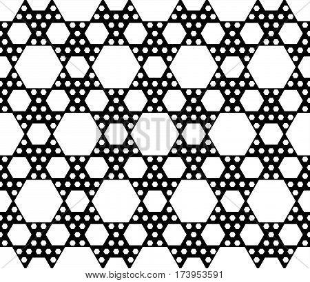 Vector monochrome seamless pattern, repeat geometric texture, black & white hexagonal grid, abstract modern pattern. Background with simple figures, hexagons. Design for decoration, prints, textile, fabric, clothes