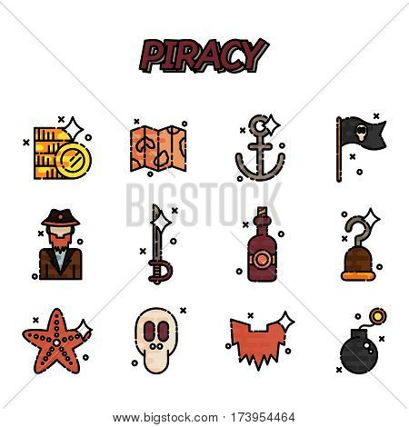 Piracy flat icons set. Vector illustration, EPS 10