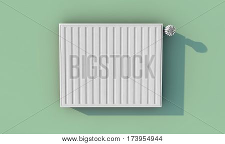 Heating system on green wall in a house (3D Rendering)