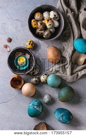 Colored Easter blue brown chicken and quail eggs, whole and broken with yolk in shell in spotted plate and black bowls with textile over gray textured background. Top view with space