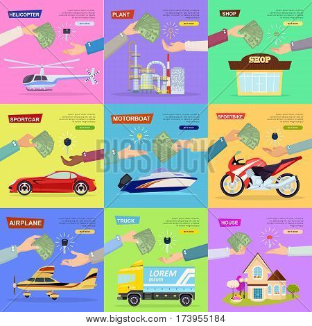 Process of buying, selling plant, sportbike, truck, helicopter, shop, house, sportcar, airplane, motorboat. Collection of pictures with hands passing keys and money. E-commerce online shopping Vector