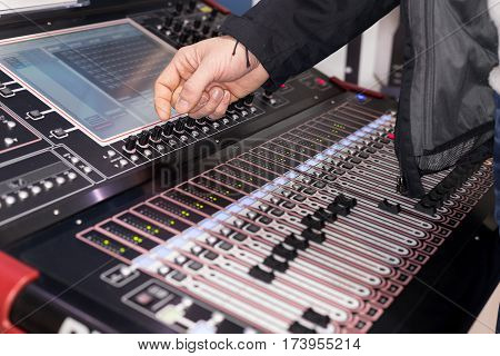 Large panel of the Hi-End stage controller with touch screens - closeup background
