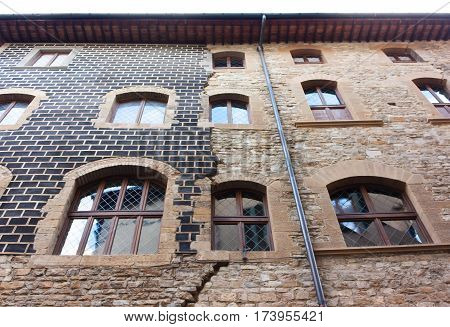Old house with brown windows in Florence Italy (Firenze)