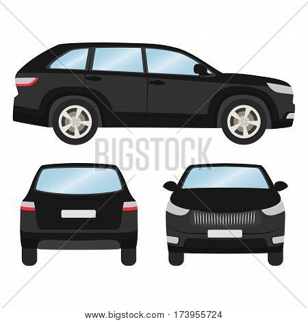Car Vector Template On White Background. Hatchback Isolated. Front, Back, Side View, Business Design