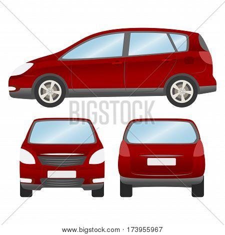 Car Vector Template On White Background. Hatchback Isolated. Business Design, Mock Up Red Hatchback