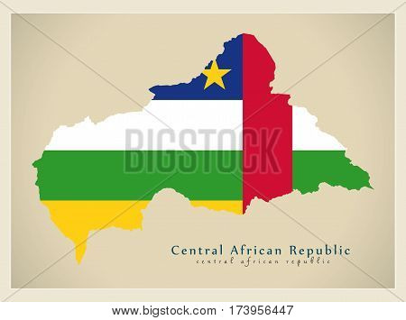 Modern Map - Central African Republic Flag Colored Cf