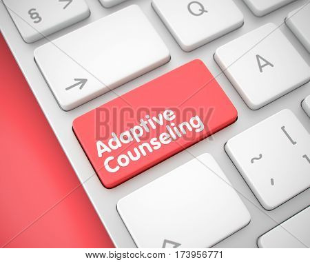 Service Concept: Adaptive Counseling on the Computer Keyboard lying on Red Background. Service Concept:  3D Illustration.