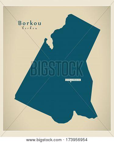 Modern Map - Borkou TD illustration silhouette